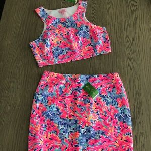 NWT Lilly Pulitzer mallika set crop top and skirt